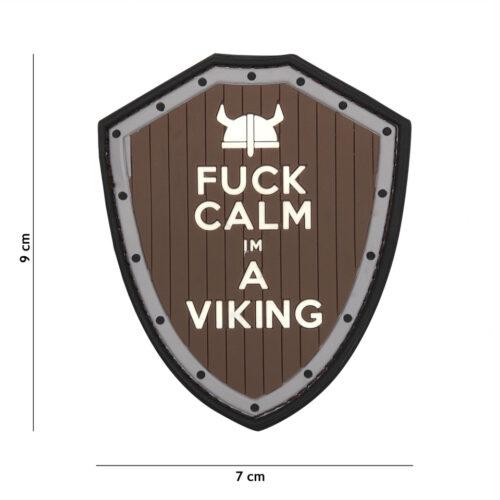 Naszywka PVC Fuck Calm Viking Szara