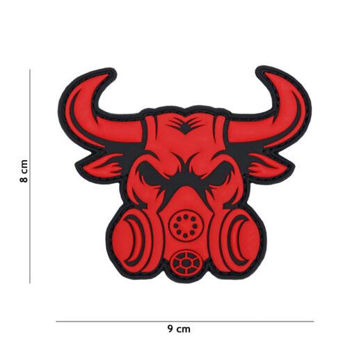 Naszywka Byk Maska gazowa PVC Czerwona