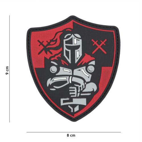 Rycerz Naszywka PVC Tarcza Czerwony